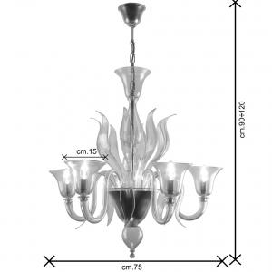 Ingres lampadario Murano 5 luci dimensioni
