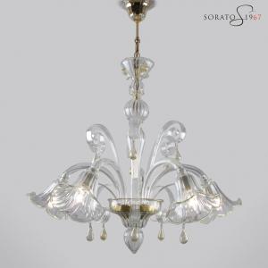 Bronzino lampadario Murano cristallo oro 5 luci