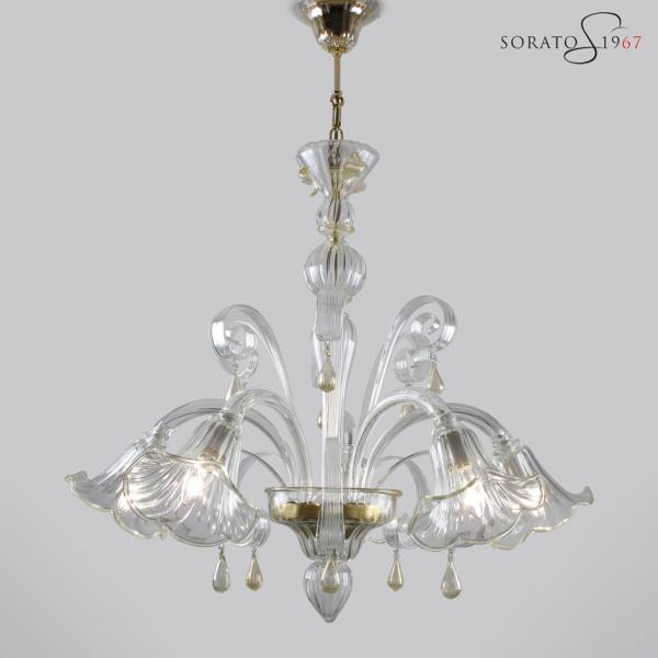 Bronzino lampadario vetro Murano cristallo oro