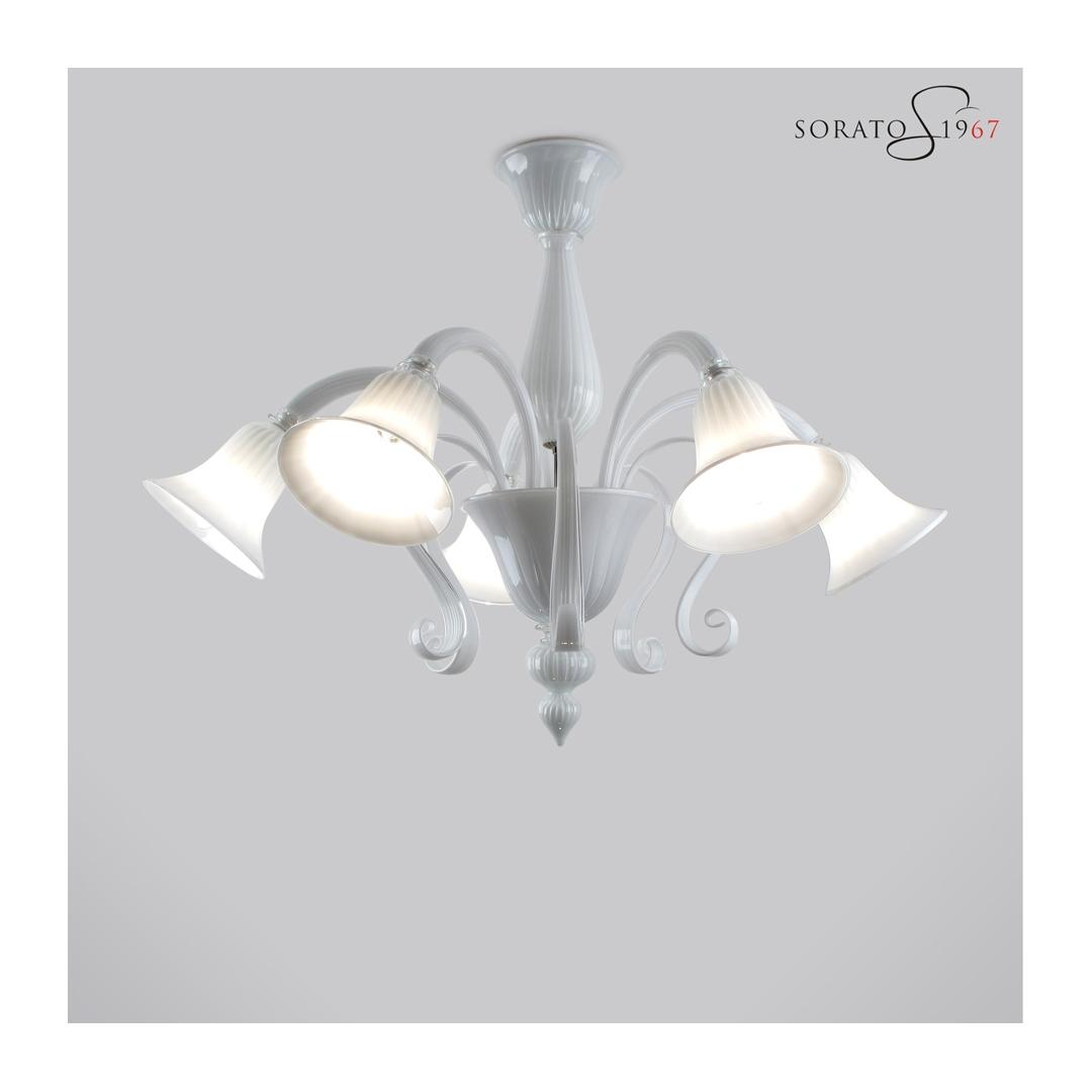 Tiziano plafoniera vetro Murano bianco