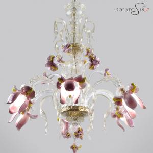 Monet lampadario vetro Murano 6 luci rosa oro
