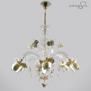 Monet lampadario Murano 6 luci bianco oro