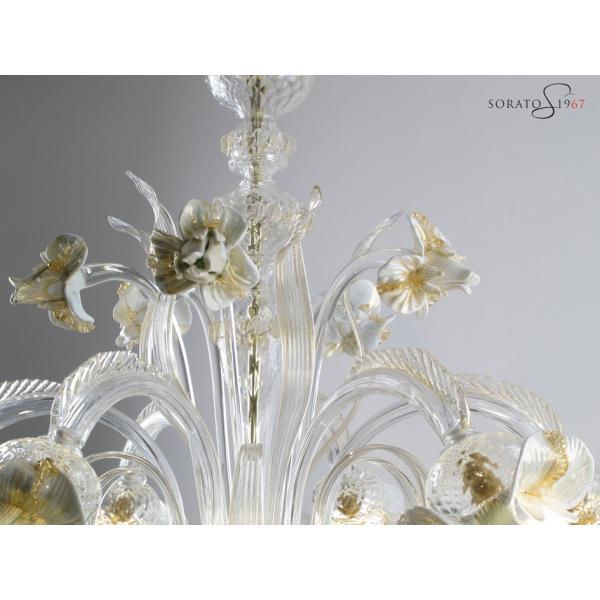 Monet lampadario vetro Murano 6 luci bianco oro