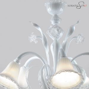 Raffaello lampadario vetro Murano bianco 5 luci