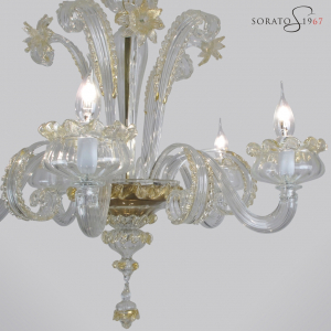 Masaccio lampadario Murano cristallo oro 5 luci