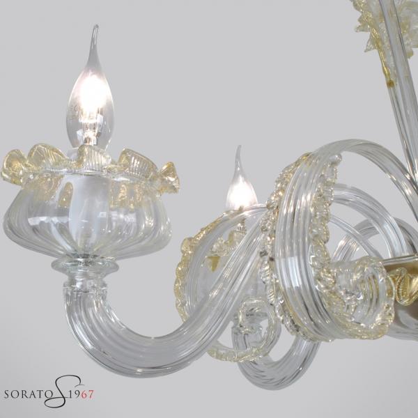 Masaccio lampadario vetro Murano cristallo oro 5 luci