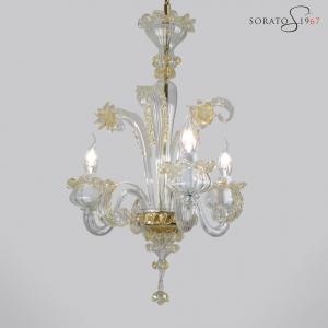 Masaccio lampadario Murano cristallo oro micro 3 luci