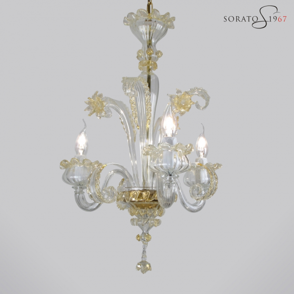 Masaccio lampadario vetro Murano cristallo oro micro 3 luci