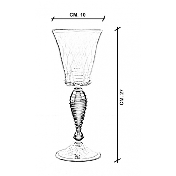 Calice vetro Murano Batèla dimensioni