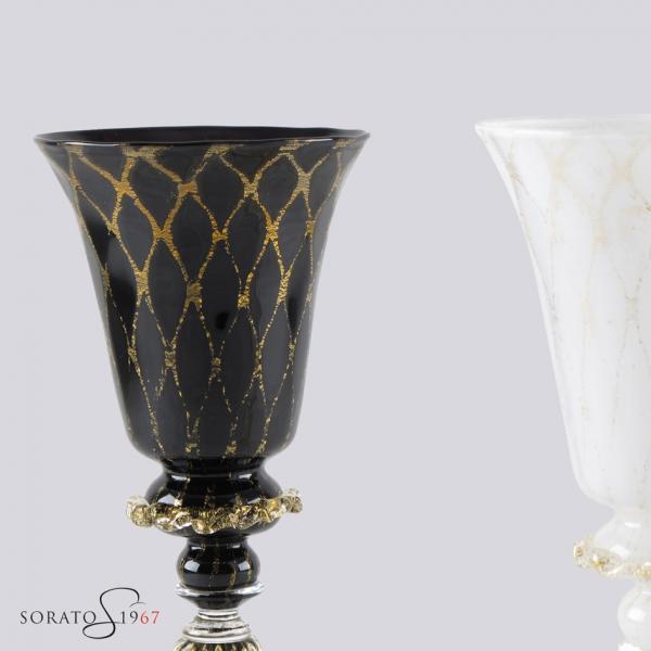 Calice vetro Murano Caicio bianco e nero