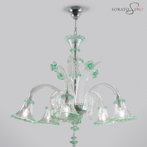 Pinturicchio lampadario vetro Murano cristallo verde 5 luci
