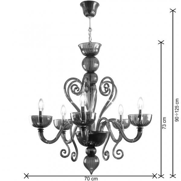 Rubens lampadario vetro Murano 5 luci dimensioni