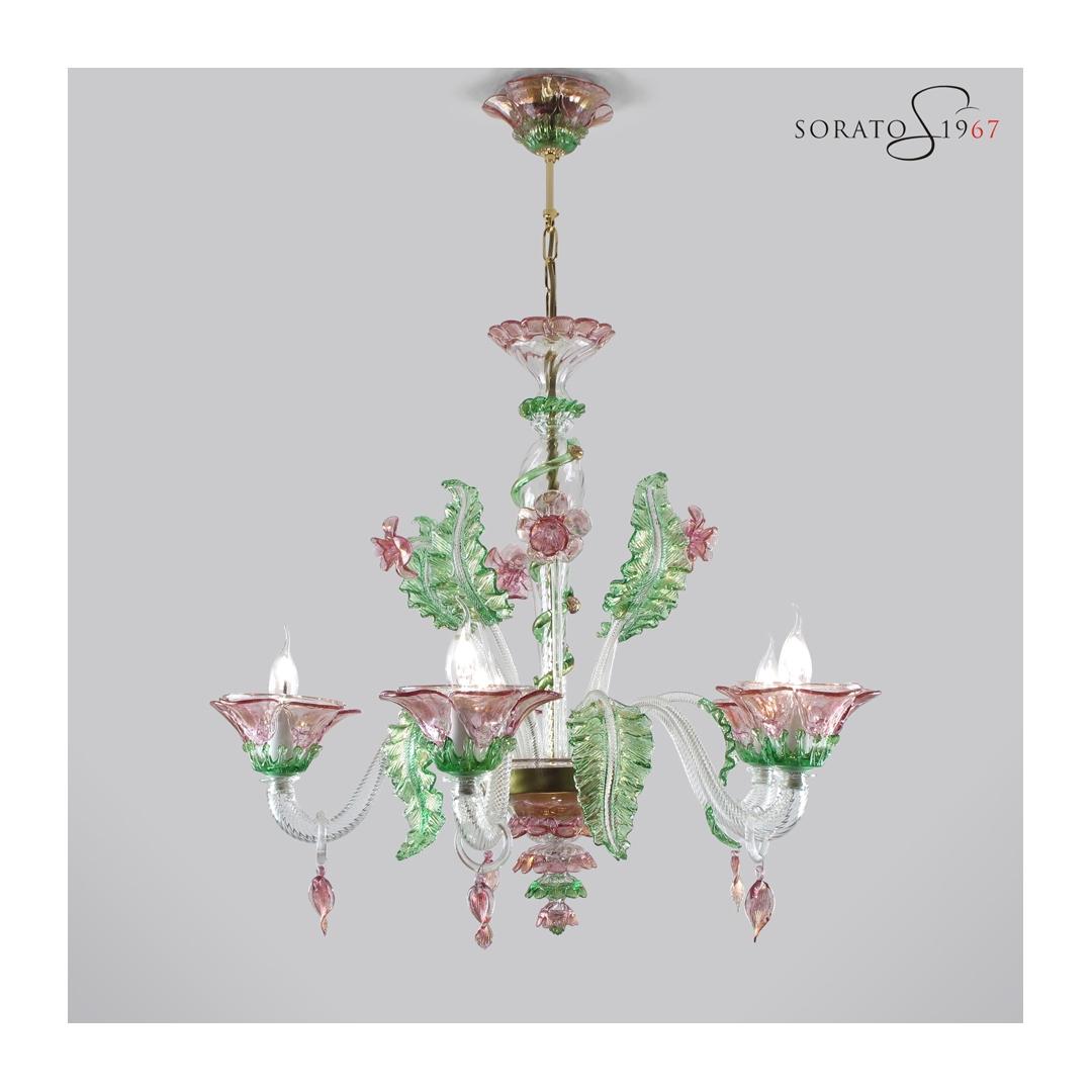 Tiepolo lampadario vetro Murano rosa verde oro