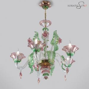 Tiepolo lampadario Murano rosa verde oro 5 luci