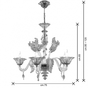 Tiepolo lampadario Murano 5 luci dimensioni