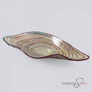 """Centrotavola Murano """"barchetta"""" multicolor argento"""