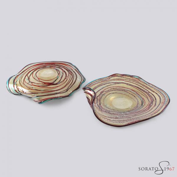 """Centrotavola Murano """"riccio"""" multicolor argento"""