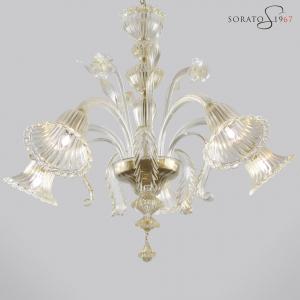 Raffaello lampadario Murano tutto oro 5 luci