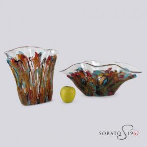 Vaso e centrotavola Murano fili colorati