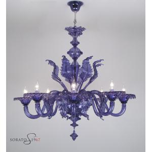 Mucha lampadario Murano lilla 8 luci