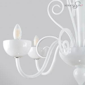 Vivarini lampadario Murano bianco 5 luci