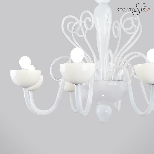 Vivarini lampadario Murano bianco 8 luci