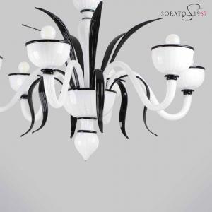 Bramante fogliato lampadario Murano 5 luci