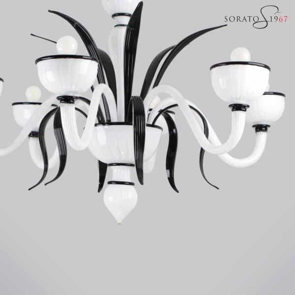 Bramante lampadario Murano 5 luci moderno bianco e nero