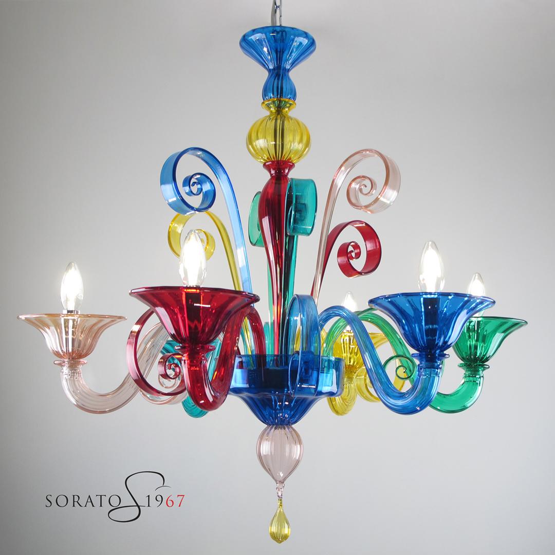 Lampadario vetro Murano colorato