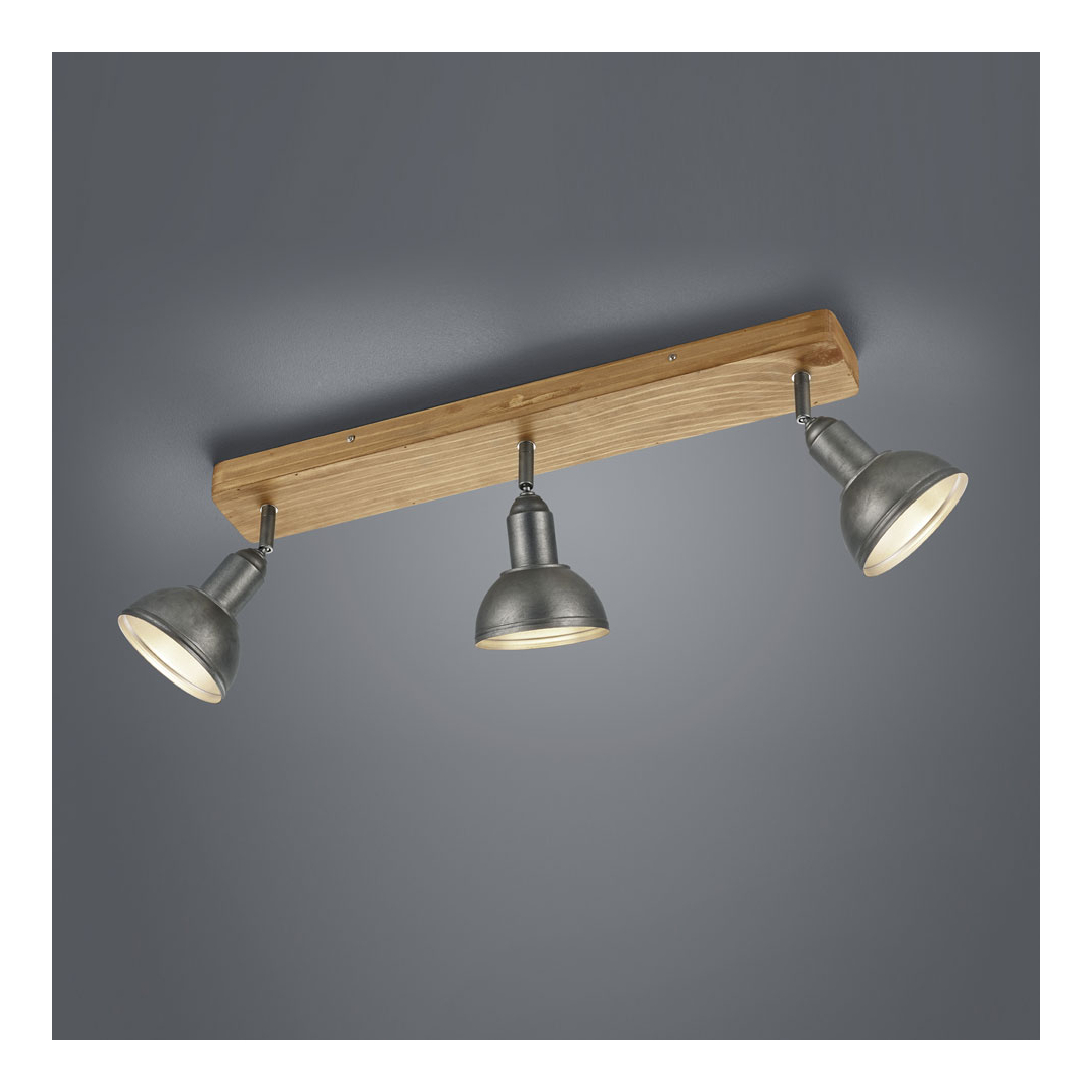 Faretti Da Incasso Legno faretti da soffitto delhi 3 luci orientabili con base in legno