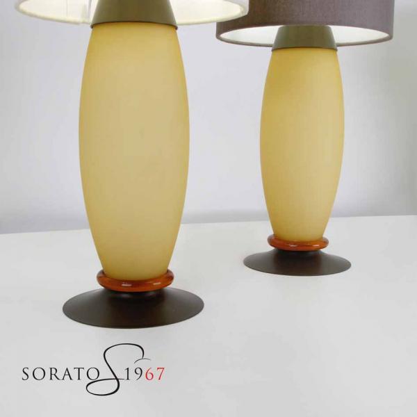 Teo lampada tavolo vetro soffiato e paralume