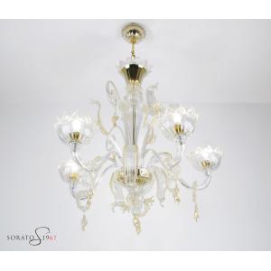 Lorrain lampadario Murano cristallo oro 5 luci