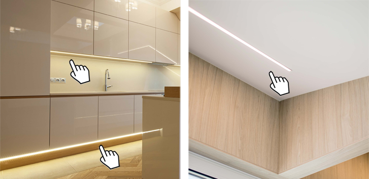 Strip led su misura for Luci led cucina